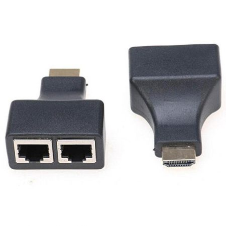 HDMI-to-Ethernet-Adapter-Extender-HDMI-Male-to-2-Dual-RJ45-Female-Port-CAT-5CAT-6-LAN-Ethernet-Sockets-Pack-of-2-B01N99EYH7